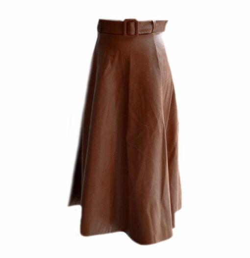 Leather Like Midi Skirt - Cognac