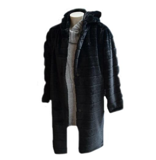linear fur Jacket Black