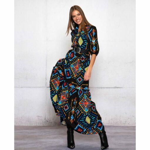 Peace & Chaos Mayans Stories Long Dress 2