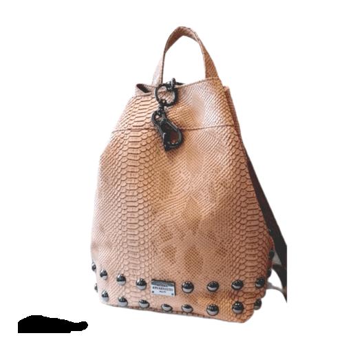 Elena Athanasiou Backpack Croco Nude - Nikel