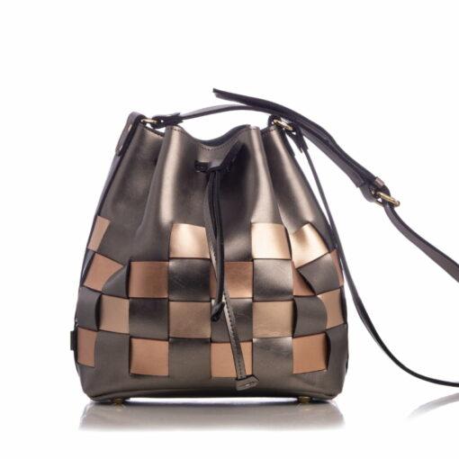 Elena Athanasiou Straw Pouch Bag Multicolored Grey