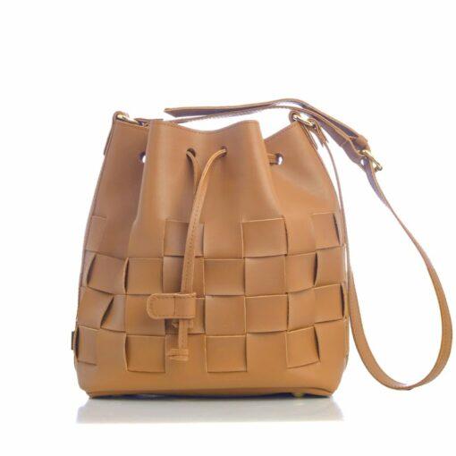 Elena Athanasiou Straw Pouch Bag Cognac