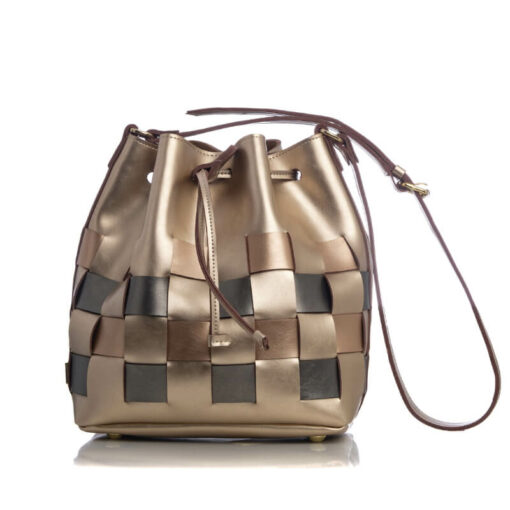 Elena Athanasiou Straw Pouch Bag Multicolored Gold