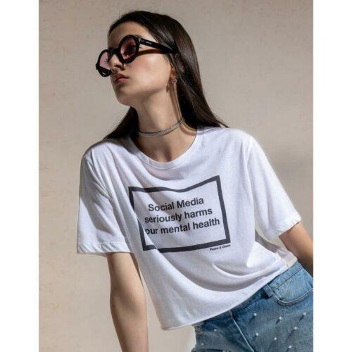 Κοντομάνικο μπλουζάκι Peace & Chaos Social Media t-shirt με τύπωμα.